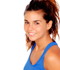 Pretty casual girl with blue t-shirt