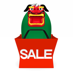 Lion Dance In Sale Bag Front View