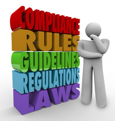 Wall Mural - Compliance Rules Thinker Guidelines Legal Regulations
