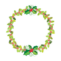 Christmas wreath banner, vector format