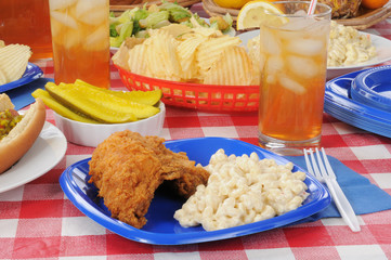 chicken on a picnic table
