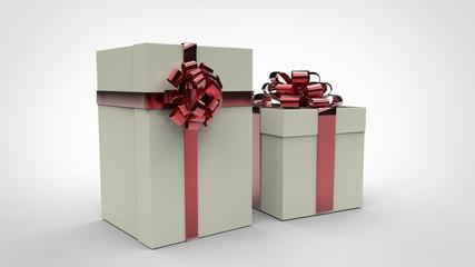 Boîtes Cadeaux Blanches - Ruban Rouge