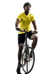 Wall Mural - man bicycling  mountain bike silhouette