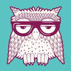 Fotobehang - Owl in glasses