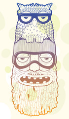 Wall Mural - bearded man in ski-glasses with owl on his head
