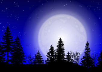 Nächtliche Waldkulisse mit großem Mond - Vektor