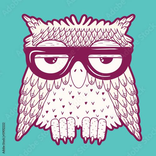 Wall mural Owl in glasses