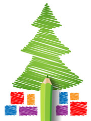 Christmas tree and gifts in pencil