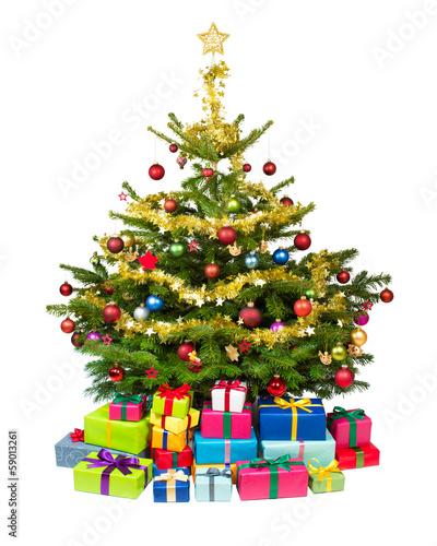 Foto Weihnachtsbaum.Weihnachtsbaum Mit Geschenken Vor Weissem Hintergrund Stock