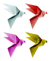 Set of colorful origami bird. Vector illustration, EPS 10