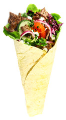 Tortilla with meat and fresh salad filling