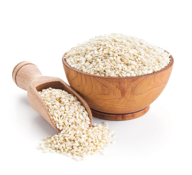 sesame seeds isolated on white