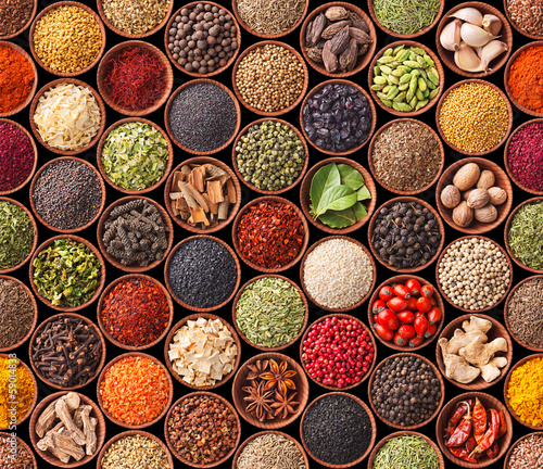 Wall mural Seamless texture with spices and herbs