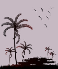 Silhouette palm trees and bird