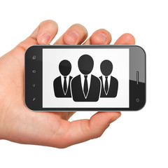 Marketing concept: Business People on smartphone