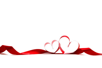Red heart ribbons
