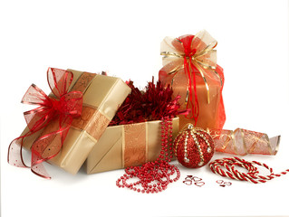 Christmas Gifts and Decorations in Gold and Red