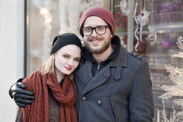 Young happy hipster couple