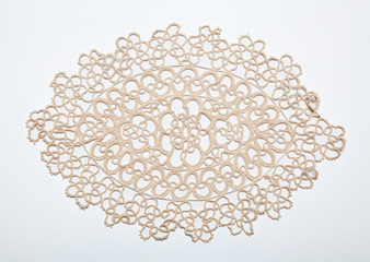 Crocheted lace on white