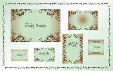 Set of wedding invitation cards with ornamental floral elements