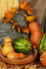 Pumpkins and watermelons in wooden tub with wicker stand