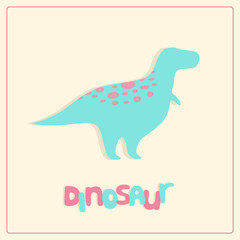 Cartoon style dinosaur silhouette. Children vector illustration