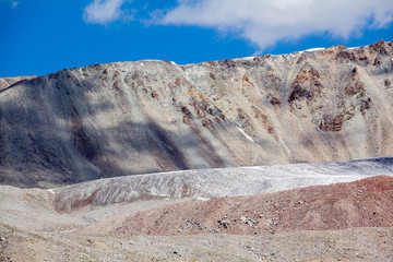 Wall Mural - Ice glacier in colored mountains. Tien Shan