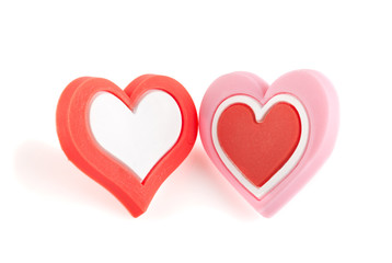 Love hearts, isolated on white. Clipping path included.
