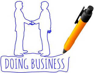 Drawing business people handshake deal