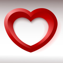Red heart, 3d object for your design and art