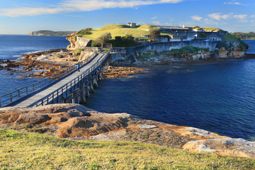 Boardwalk bridge to Bare Island, near Sydney, Australia.