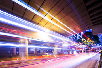 Traffic trail in Hong Kong at night