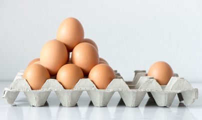 Eggs on the tray with reflection background