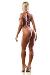 rear view of pretty muscular woman