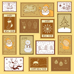 Postal stamps with Christmas illustration