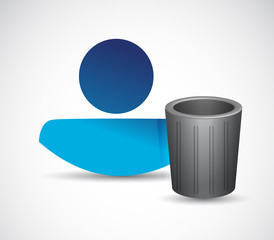 trash can and avatar illustration design