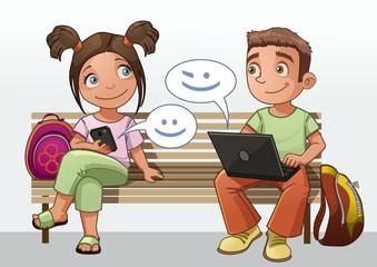 chatting kids