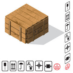 Wooden cargo box Vector
