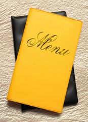 Yellow menu book