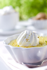 Closeup of a fresh lemon cream dessert.