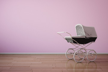 Baby stroller on pink wall horizontal