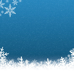 Blue and White Snowflake Background with Falling Snow