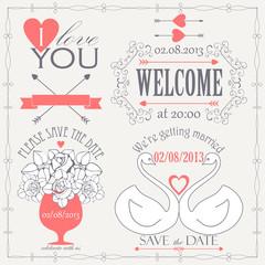 Decorative set of artistic wedding elements
