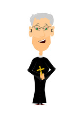 Cartoon priest on a white background, easy to add to any design.
