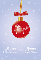 merry christmas card with red ball and horse 2014