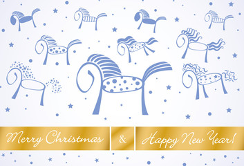 merry christmas and happy new year horses card 2014
