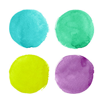 Bright watercolor circles for design