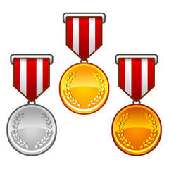 Military medals with laurel