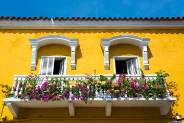Fototapete - Colonial Balcony in Cartagena