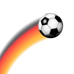 Fußball mit Schweif in schwarz-rot-gold